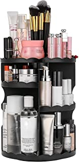 Dseap Makeup Storage Organizer Countertop - 360 Rotation, Adjustable, Large Capacity - Vanity Organizer, Skincare Organizers, Makeup Shelf, Make up Holder, Makeup Caddy, Flower,Black