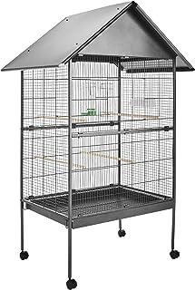 TecTake Volière pour Oiseaux, Cage sur roulettes pour Canaries Perroquet Perruches (avec Toit II   No. 402288)