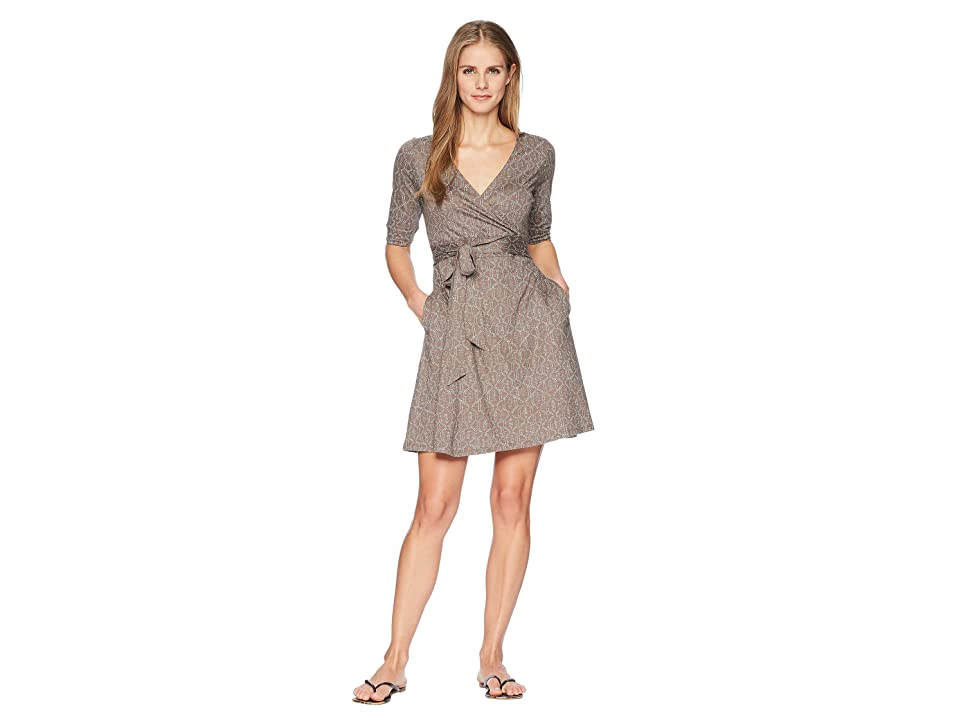Toad&Co Cue Wrap Cafe Dress (Falcon Brown Batik Dot Print) Women