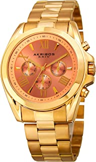 Akribos XXIV Women's Multifunction Watch - 3 Subdials - Date, Day, 24 Hours Clear Roman Numerals On A Stainless Steel Bracelet- AK951