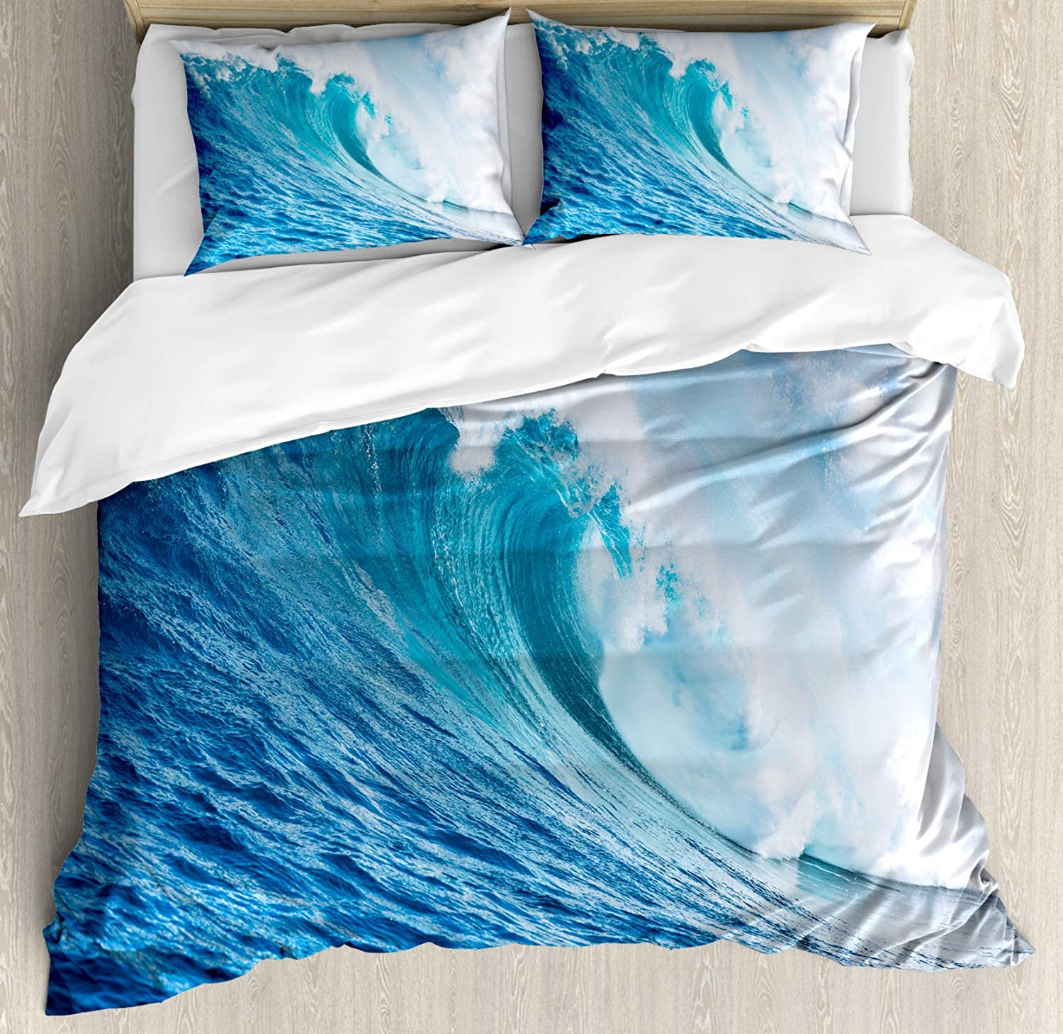 Ocean Decor Queen Size Duvet Cover Set by Ambesonne, Large Powerful Pasific Surf Sea Wave Crashes Hard, Decorative 3 Piece Bedding Set with 2 Pillow Shams