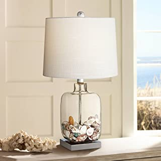 Coastal Accent Table Lamp Clear Glass Fillable Sea Shells White Drum Shade for Living Room Family Bedroom Bedside - 360 Lighting