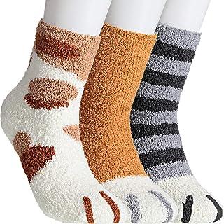 SATINIOR, Calcetines de Garra de Gato Calcetines Mullidos de Sueño Gato Calcetines de Deslizador de Gato Acogedor Calcetines de Invierno Cálido para Mujeres