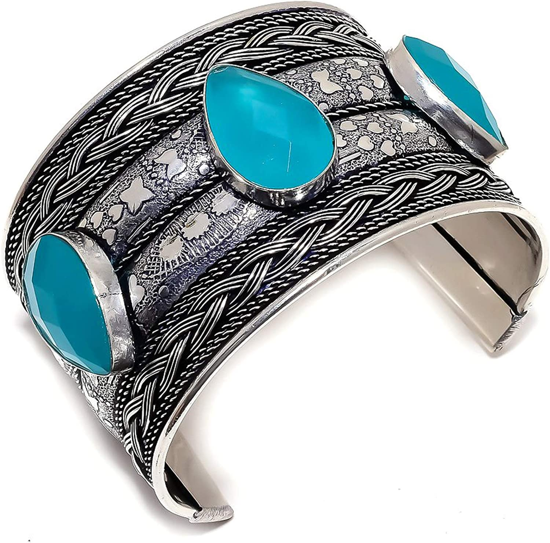 Gifts safety Blue Onyx Gemstone Ethnic Style Silver Cuff Sterling Bracele 925