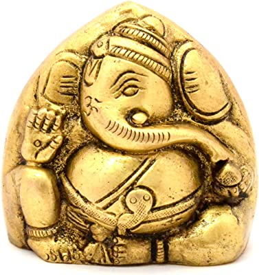 Two Moustaches Brass Twin Faced Ganesha Paperweight - Antique Brown