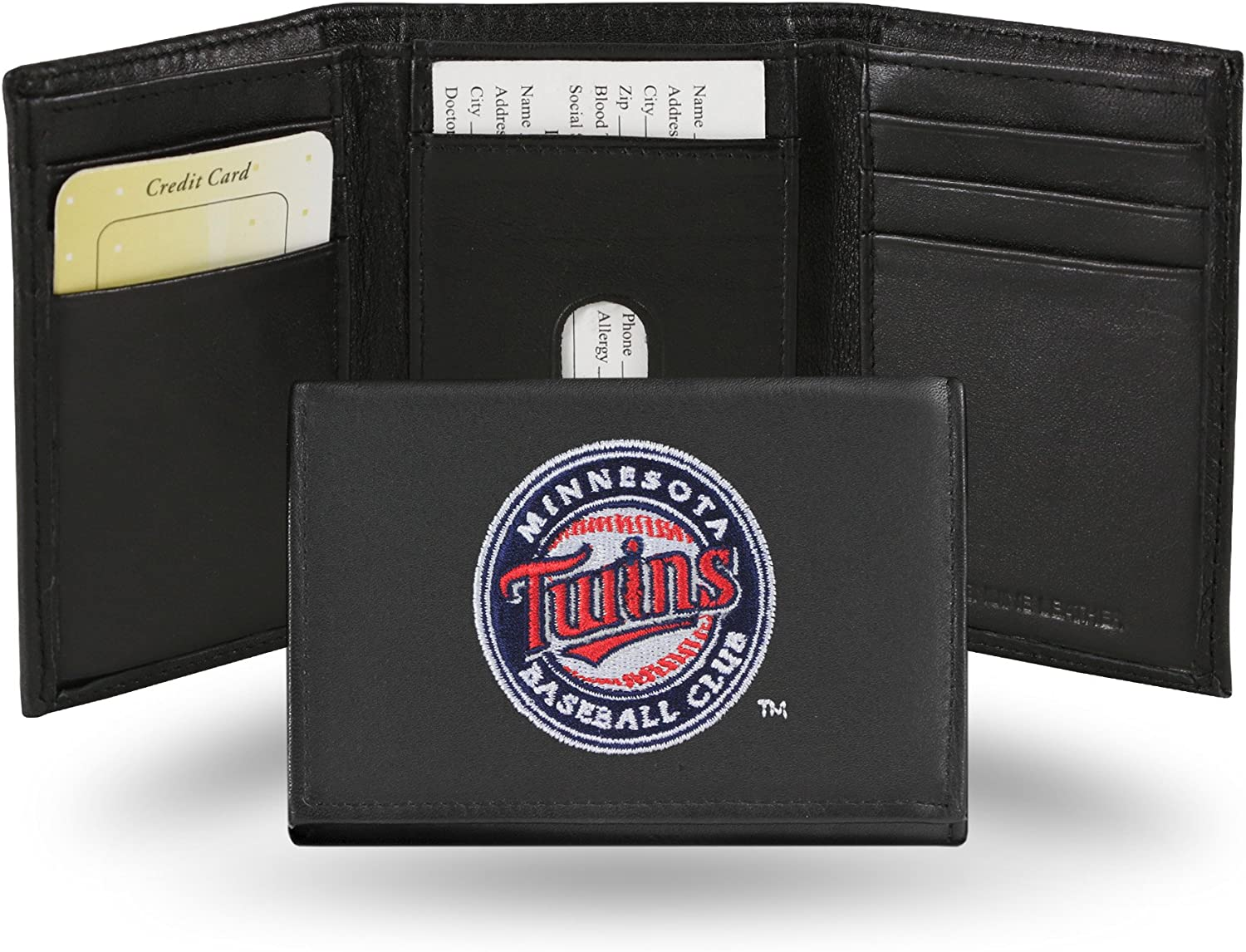 MLB Minnesota Twins Embroidered Genuine Cowhide Leather Trifold Wallet : Wallets : Sports & Outdoors