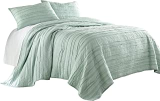 Chezmoi Collection Katy 3-Piece Solid Raw Edge 100% Cotton Pre-Washed Soft-Finished Quilt Set (King, Seafoam Green)