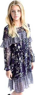 Big Girls Tween Printed A-Line Long Sleeves Dress (Many Options), 7-16