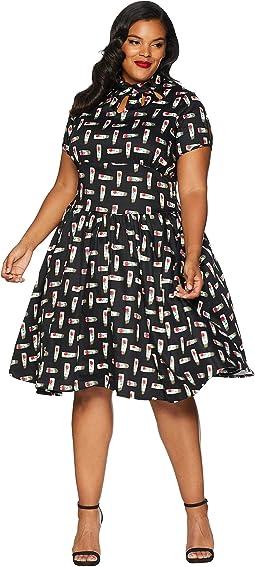 Plus Size 1950s Style Keyhole Lizzie Swing Dress