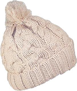 Best Winter Hats Thick Cuffed Cable & Rib Knit Beanie W/Pom Pom (One Size)