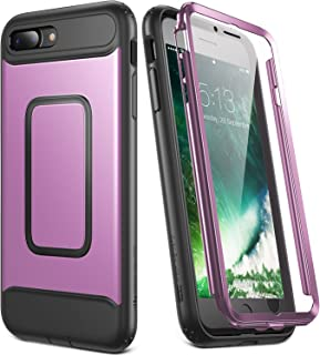 YOUMAKER Case for iPhone 8 Plus & iPhone 7 Plus, Full Body with Built-in Screen Protector Heavy Duty Protection Shockproof Slim Fit Cover for Apple iPhone 8 Plus (2017) 5.5 Inch - Purple