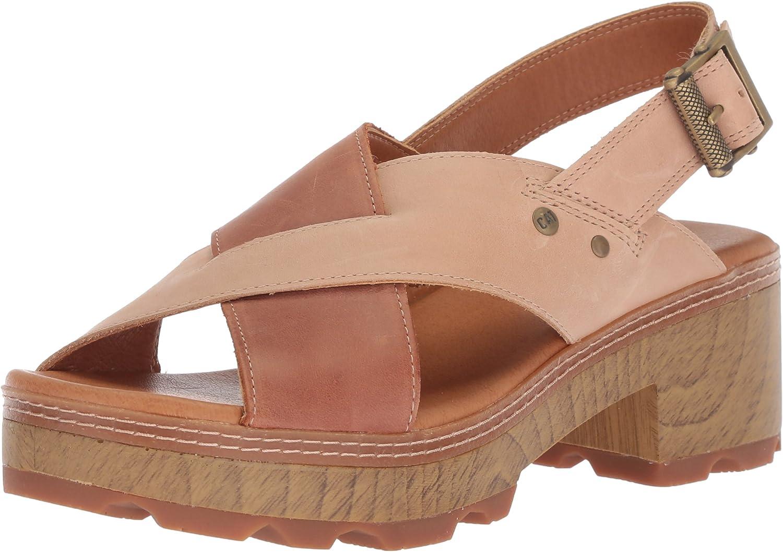 Caterpillar Womens Lia Adjustable Back Strap Leather CRIS Cross Sandal Heeled Sandal