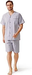 DAVID ARCHY Mens Lightweight Button Down Pajama Set,Woven Sleepwear Loungewear Nightwear