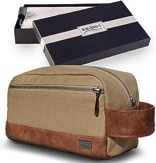 Toiletry Bag for Men or Women - Dopp Kit for Travel, Gym, Grooming & Shaving, Waterproof Lining, Comes in Gift Box by Kalooi (Khaki)