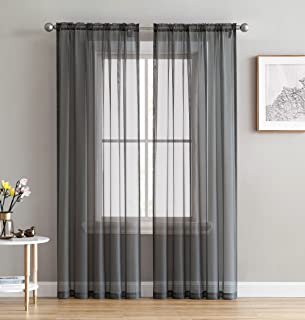 HLC.ME Charcoal Grey Sheer Voile Window Treatment Rod Pocket Curtain Panels for Bedroom and Living Room (54 x 84 inches Long, Set of 2)