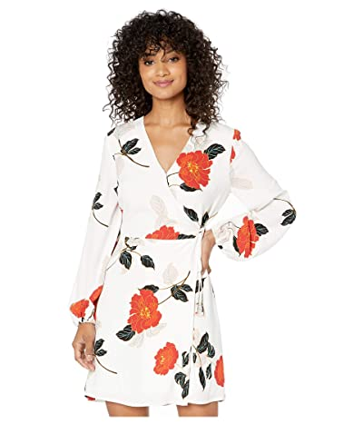 Cupcakes and Cashmere Athens Passion Blossom Soft Satin Wrap Dress (Ivory) Women