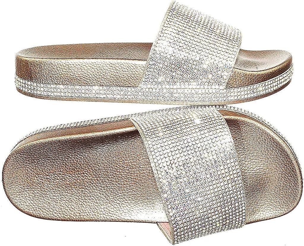 Forever Link Viste-07 Rhinestone Glitter Slide Slip On Flatform Footbed Sandal Slippers