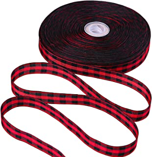 URATOT 50 Yards Red and Black Plaid Ribbon Christmas Wrapping Ribbon Gingham Plaid Ribbon for DIY Crafts Decoration, Flora...