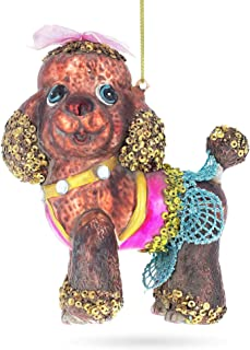 BestPysanky Stylish Poodle Glass Christmas Ornament