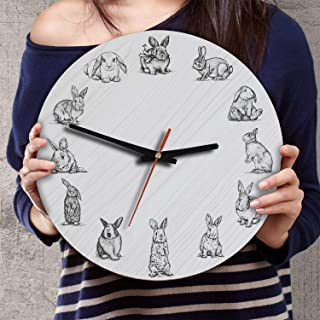 VTH Global 12 Inch Silent Battery Operated Bunny Rabbit Wood Wall Clocks Gifts for Dad Mom Pet Lovers