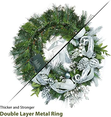 Adeeing Christmas Wreath, 30 Inch Outdoor Christmas Wreath for Front Door, Battery Operated Xmas Wreath with Silver White Bal