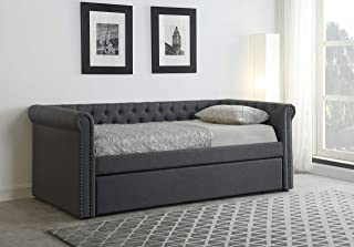 Best Master Furniture Lydia Twin Daybed with Trundle, Grey