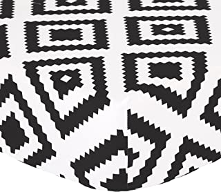 Black Diamond Tile Print Fitted Crib Sheet - 100% Cotton Baby Boy and Girl Geometric Squares Nursery and Toddler Bedding