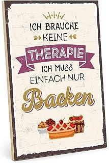 TypeStoff Cartel de Madera con Frase – BACKEN ist Meine Therapie – en Estilo Vintage con Cita como Regalo y decoración (ta...