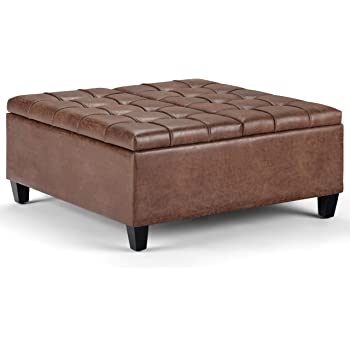 SIMPLIHOME Harrison 36 inch Wide Square Coffee Table Lift Top Storage Ottoman, Cocktail Footrest Stool in Upholstered Distressed Umber Brown Tufted Faux Air Leather for the Living Room, Traditional