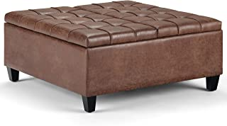 Simpli Home AXCOT-265-DUB Harrison 36 inch Wide Traditional Square Coffee Table Storage Ottoman in Distressed Umber Brown Faux Air Leather