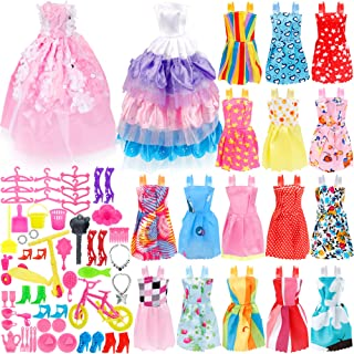 JANYUN 73Pcs Dolls Fashion Set for Dressing up Barbie Dolls, Included 18Pcs Wedding Party Outfits Clothes and 55Pcs Doll Accessories Shoes Bags Necklace Girls' Gifts