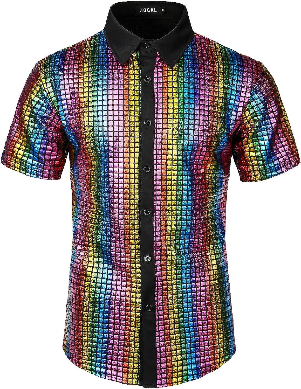 JOGAL Men's Dress Sale item Shirt Sequins Button 70s Par Down Shirts Disco At the price