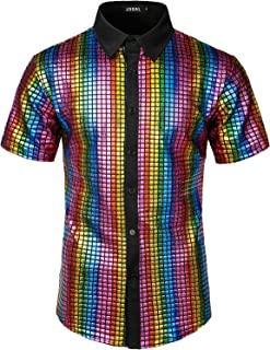 Men's Dress Shirt Sequins Button Down Shirts 70s Disco Party Costume