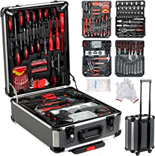 SUNCOO Tool Box with Tools Standard Metric Hand Tool Kit with Aluminium Case Tools for Mechanics Organizer Casters Trolley with Telescoping Handle Black Case