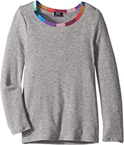 Contrast Neckband Long Sleeve Tee (Big Kids)