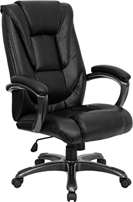 Flash Furniture High Back Black LeatherSoft Layered Upholstered Executive Swivel Ergonomic Office Chair with Smoke Metal Base and Arms