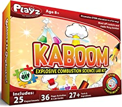 Playz Kaboom! Explosive Combustion Science Lab Kit - 25+ STEM Experiments - DIY Make Your Own Rockets, Helium Balloons, Fizzy Bombs, Color Explosions and More with Fun Chemical Reactions!