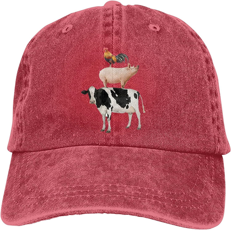Cow Pig Chicken Baseball Cap Trucker Hat Retro Cowboy Dad Hat Classic Adjustable Sports Cap for Men&Women Red