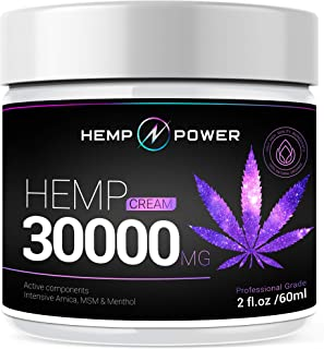 Hemp Power Pain Relief Cream -30000MG - Relieves Muscle, Joint Pain, Lower Back Pain, Knees, and Fingers - Inflammation - Hemp Extract Remedy - Hemp Oil with MSM - Arnica - Turmeric by Hemp Power