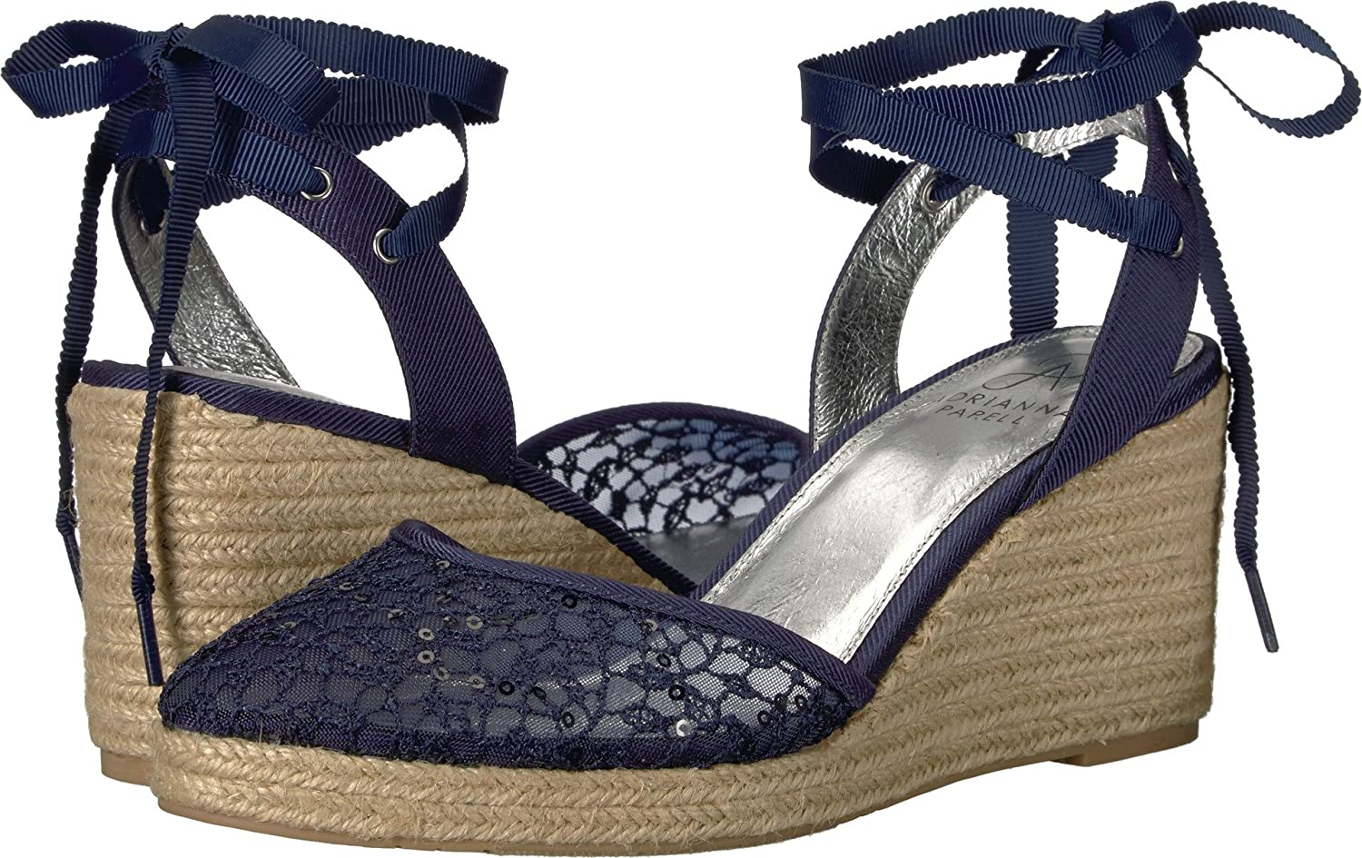 Adrianna Papell Women's Pamela Navy Martinique Lace 9.5 M US