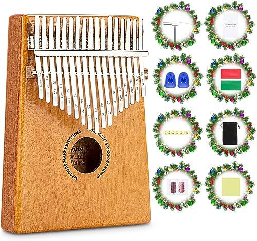 17 Teclas Kalimba, Mbira Madera Maciza Piano de Dedo, Set de Set de piano de dedo, Instrumento Musical Portátil, Pulg...
