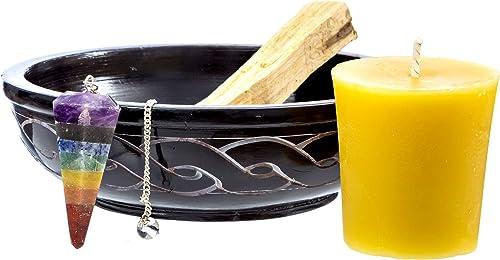 lowest Alternative Imagination Soapstone Incense Dish lowest with popular Stick of Chunky Palo Santo, Beeswax Votive Candle, and Chakra Pendulum (Chakra Energy Balance) outlet sale