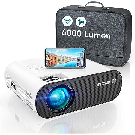 WiMiUS Proiettore WiFi Bluetooth, 6000 Lumen Mini Videoproiettore Portatile 1080P Full HD Proiettore Home Cinema Wireless WiFi Compatibile iOS,Android,Laptop,PS4 (Borsa per proiettore Inclusa)