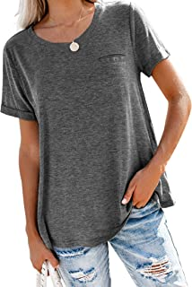 Bingerlily Women's Roll Up Short Sleeve T Shirts Summer Crew Neck Tops Loose Causal Tees with Pocket