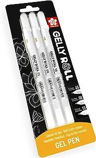 Sakura Gelly Roll Gel Pens - 05/08/10 - Bright White Ink - Blister Pack of 3