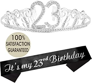23rd Birthday Tiara and Sash, Happy 23rd Birthday Party Supplies, It's My 23rd Birthday Glitter Satin Sash and Crystal Tiara Birthday Crown for 23rd Birthday Party Supplies and Decorations