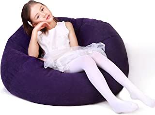 Lukeight Stuffed Animal Storage Bean Bag Chair, Bean Bag Cover for Organizing Kid's Room - Fits a Lot of Stuffed Animals, X-Large/Purple