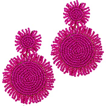 Amazon.com: Statement Beaded Drop Earrings for Women- Fashion ...
