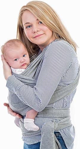 Bambalino Porte-bébé écharpe de qualité supérieure, convient pour nouveau-nés, nourrissons et tout-petits, gris, tissu confortable en coton bio élasthanne, taille unique