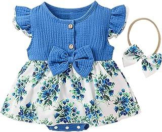 Kobay-Damen Kobay Kleinkind Baby Mädchen Rüschen Blumen gedruckt rückenfrei Hosenträger Strampler Jumpsuit